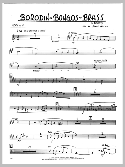 Sammy Nestico Borodin-Bongos-Brass - Horn in F sheet music preview music notes and score for Jazz Ensemble including 2 page(s)