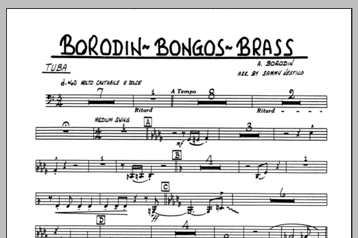 Sammy Nestico Borodin-Bongos-Brass - Tuba sheet music preview music notes and score for Jazz Ensemble including 1 page(s)