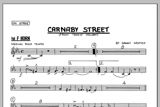 Sammy Nestico Carnaby Street - 1st F Horn sheet music preview music notes and score for Jazz Ensemble including 1 page(s)