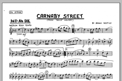 Sammy Nestico Carnaby Street - 3rd Eb Alto Saxophone sheet music preview music notes and score for Jazz Ensemble including 1 page(s)