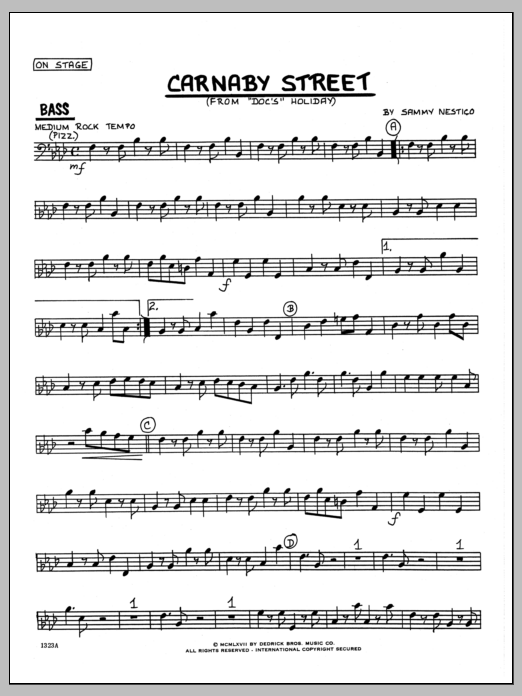 Sammy Nestico Carnaby Street - Bass sheet music preview music notes and score for Jazz Ensemble including 2 page(s)