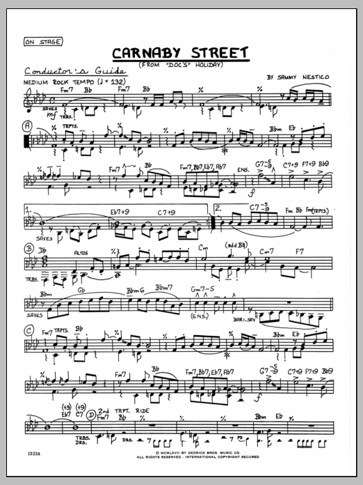 Sammy Nestico Carnaby Street - Full Score sheet music preview music notes and score for Jazz Ensemble including 2 page(s)