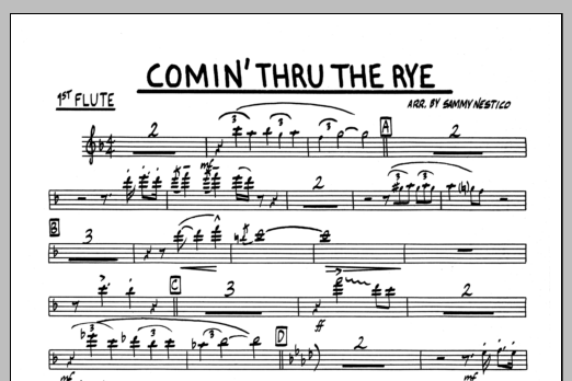 Sammy Nestico Comin' Through The Rye - 1st Flute sheet music preview music notes and score for Jazz Ensemble including 1 page(s)
