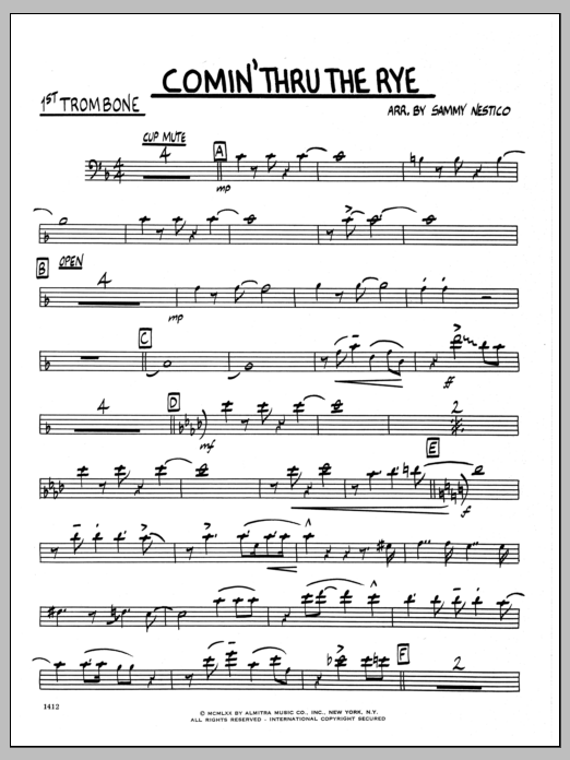 Sammy Nestico Comin' Through The Rye - 1st Trombone sheet music preview music notes and score for Jazz Ensemble including 2 page(s)