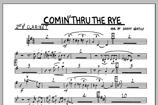 Sammy Nestico Comin' Through The Rye - 2nd Bb Clarinet sheet music preview music notes and score for Jazz Ensemble including 1 page(s)