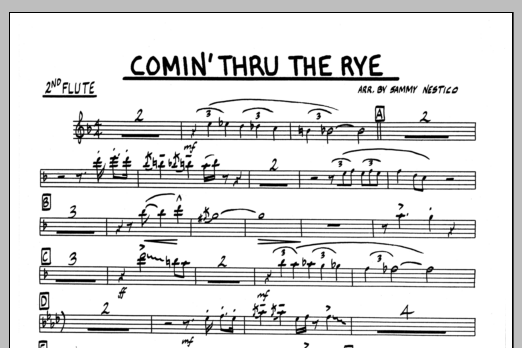 Sammy Nestico Comin' Through The Rye - 2nd Flute sheet music preview music notes and score for Jazz Ensemble including 1 page(s)