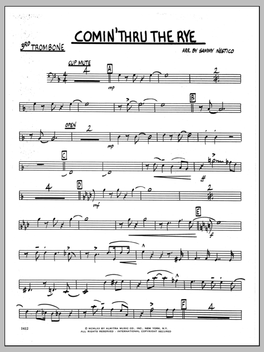 Sammy Nestico Comin' Through The Rye - 3rd Trombone sheet music preview music notes and score for Jazz Ensemble including 2 page(s)
