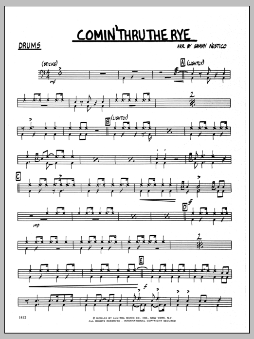 Sammy Nestico Comin' Through The Rye - Drums sheet music preview music notes and score for Jazz Ensemble including 2 page(s)