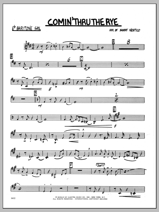 Sammy Nestico Comin' Through The Rye - Eb Baritone Sax sheet music preview music notes and score for Jazz Ensemble including 2 page(s)