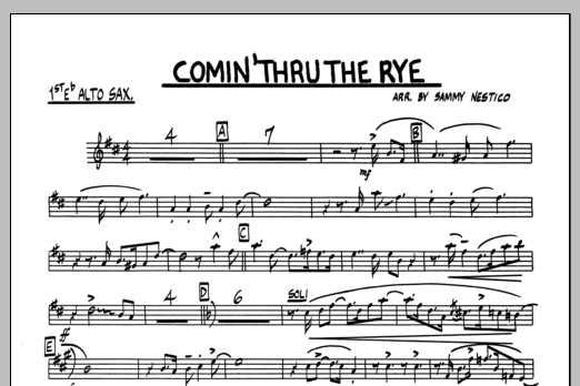 Sammy Nestico Comin' Through The Rye - F Horn sheet music preview music notes and score for Jazz Ensemble including 1 page(s)