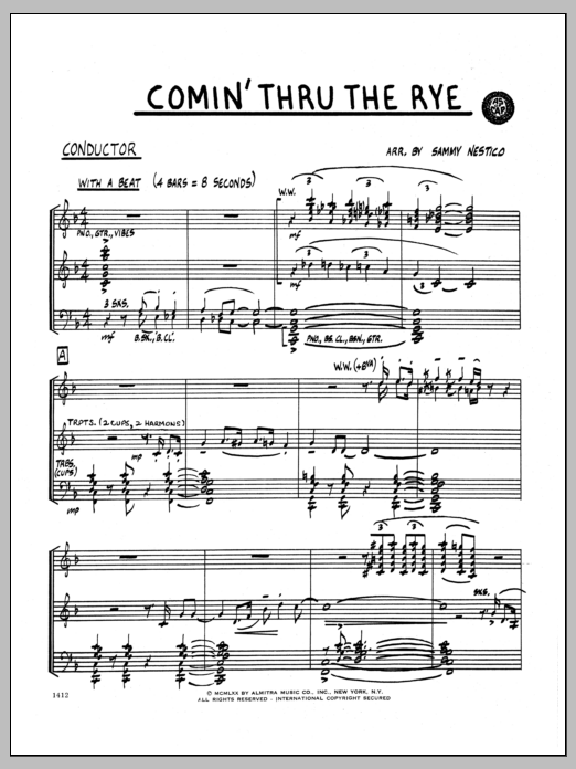 Sammy Nestico Comin' Through The Rye - Full Score sheet music preview music notes and score for Jazz Ensemble including 6 page(s)