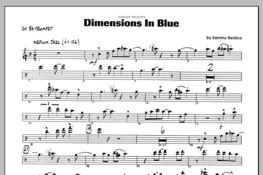 Sammy Nestico Dimensions In Blue - 1st Bb Trumpet sheet music preview music notes and score for Jazz Ensemble including 1 page(s)