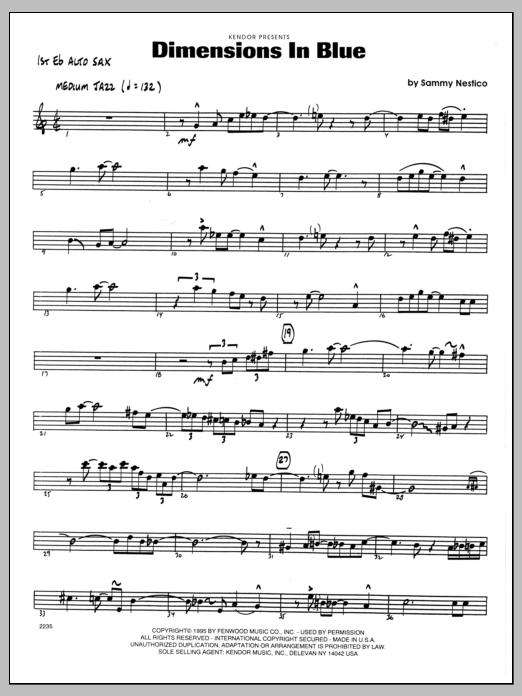 Sammy Nestico Dimensions In Blue - 1st Eb Alto Saxophone sheet music preview music notes and score for Jazz Ensemble including 2 page(s)