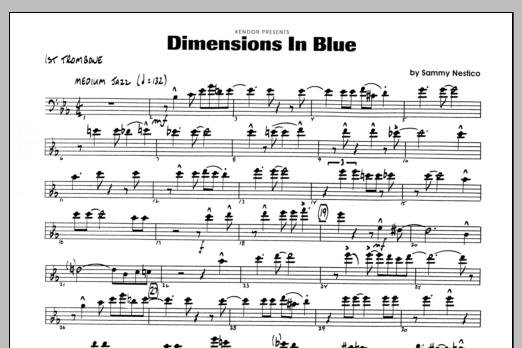 Sammy Nestico Dimensions In Blue - 1st Trombone sheet music preview music notes and score for Jazz Ensemble including 1 page(s)
