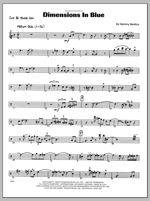 Sammy Nestico Dimensions In Blue - 2nd Bb Tenor Saxophone sheet music preview music notes and score for Jazz Ensemble including 2 page(s)
