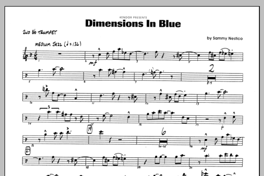 Sammy Nestico Dimensions In Blue - 2nd Bb Trumpet sheet music preview music notes and score for Jazz Ensemble including 1 page(s)