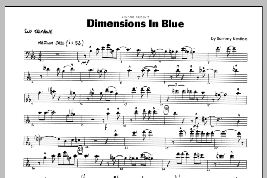 Sammy Nestico Dimensions In Blue - 2nd Trombone sheet music preview music notes and score for Jazz Ensemble including 1 page(s)