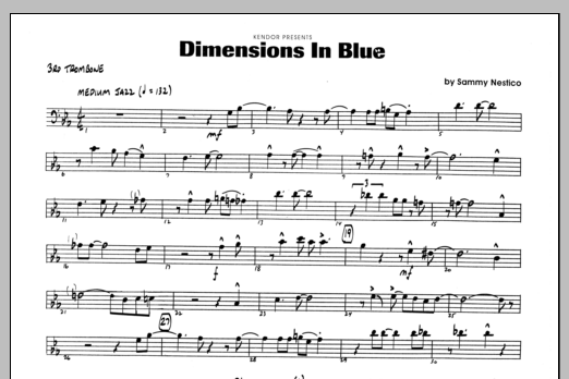 Sammy Nestico Dimensions In Blue - 3rd Trombone sheet music preview music notes and score for Jazz Ensemble including 1 page(s)