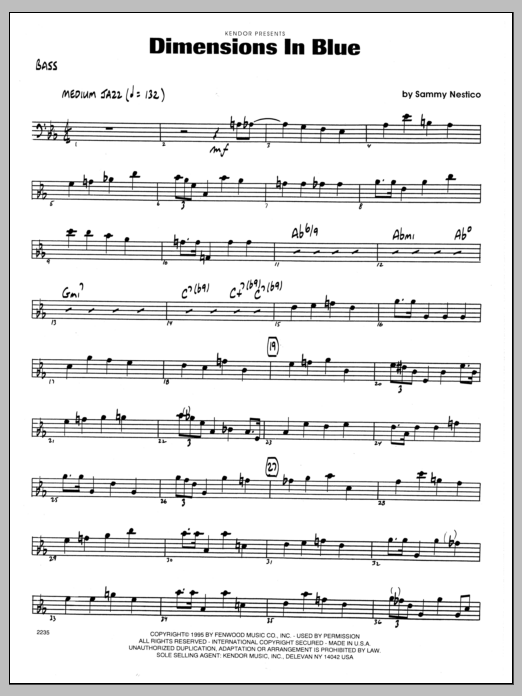 Sammy Nestico Dimensions In Blue - Bass sheet music preview music notes and score for Jazz Ensemble including 2 page(s)