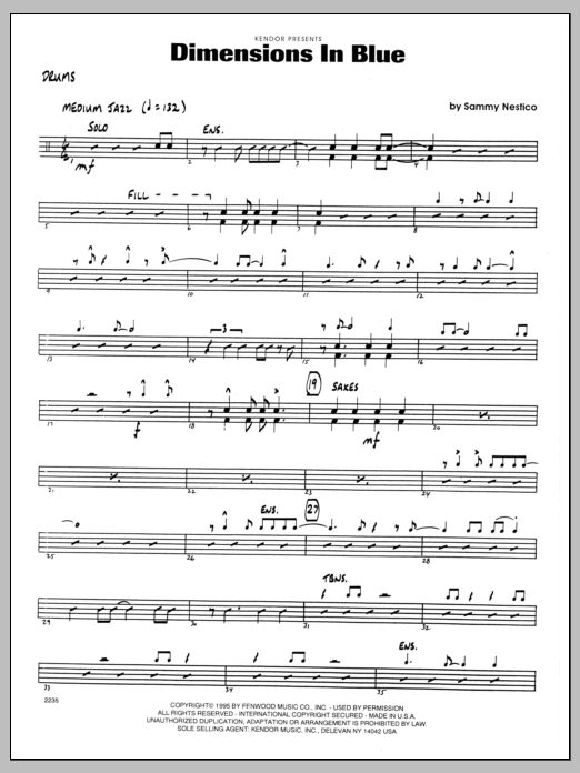 Sammy Nestico Dimensions In Blue - Drums sheet music preview music notes and score for Jazz Ensemble including 2 page(s)