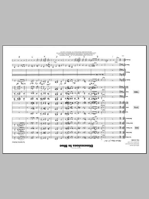 Sammy Nestico Dimensions In Blue - Full Score sheet music preview music notes and score for Jazz Ensemble including 10 page(s)