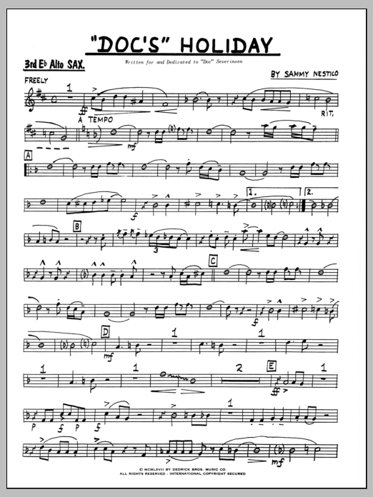 Sammy Nestico Doc's Holiday - 3rd Eb Alto Saxophone sheet music preview music notes and score for Jazz Ensemble including 4 page(s)