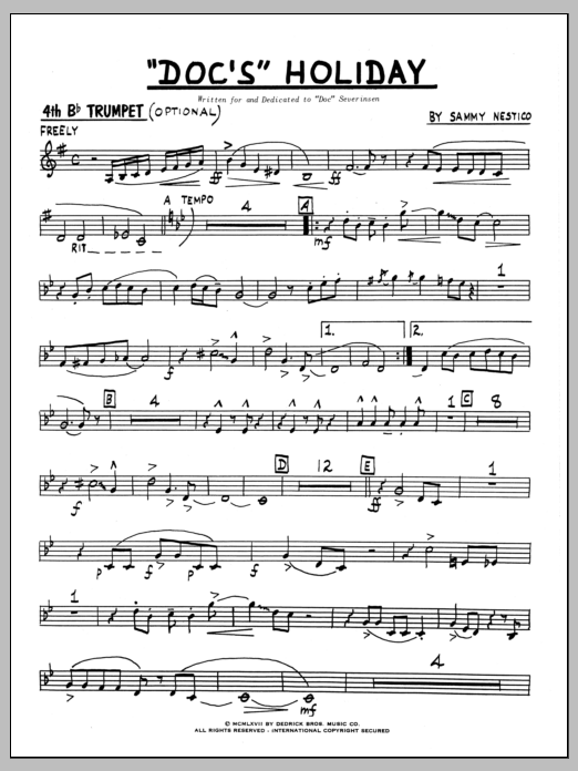 Sammy Nestico Doc's Holiday - 4th Bb Trumpet sheet music preview music notes and score for Jazz Ensemble including 3 page(s)