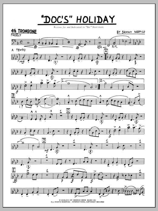 Sammy Nestico Doc's Holiday - 4th Trombone sheet music preview music notes and score for Jazz Ensemble including 4 page(s)