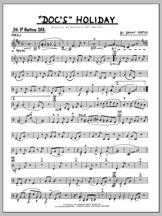 Sammy Nestico Doc's Holiday - Part 5 - Bari Sax sheet music preview music notes and score for Jazz Ensemble including 4 page(s)