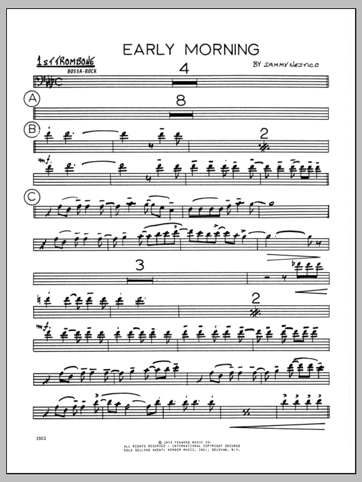 Sammy Nestico Early Morning - 1st Trombone sheet music preview music notes and score for Jazz Ensemble including 2 page(s)