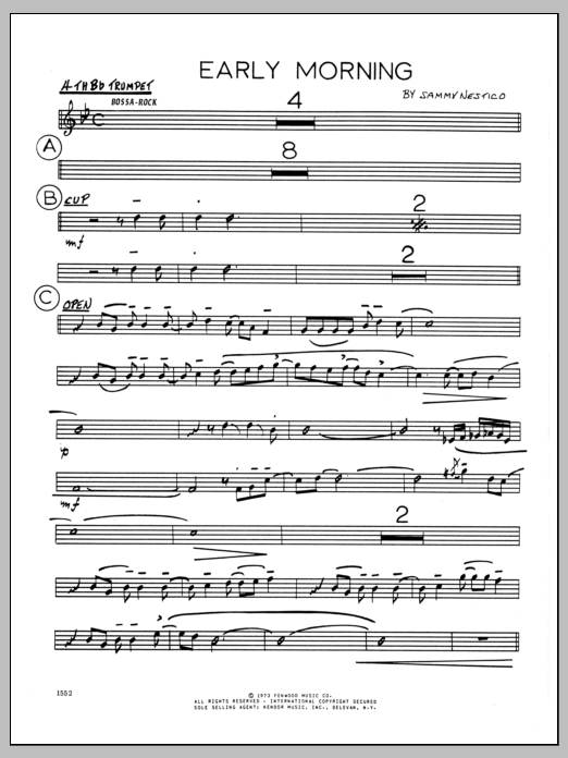 Sammy Nestico Early Morning - 4th Bb Trumpet sheet music preview music notes and score for Jazz Ensemble including 2 page(s)