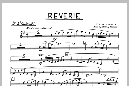 Sammy Nestico Reverie - 1st Bb Clarinet sheet music preview music notes and score for Jazz Ensemble including 1 page(s)