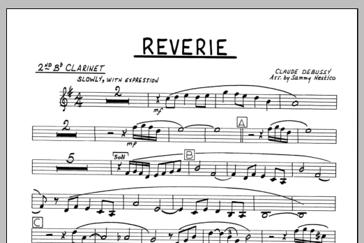 Sammy Nestico Reverie - 2nd Bb Clarinet sheet music preview music notes and score for Jazz Ensemble including 1 page(s)