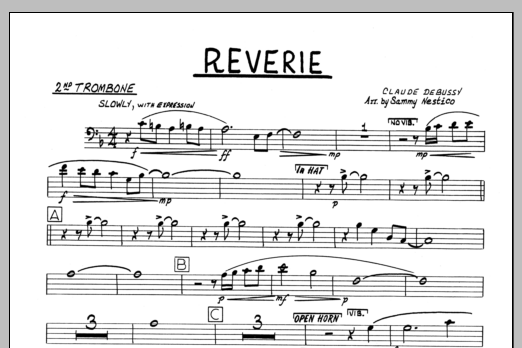 Sammy Nestico Reverie - 2nd Trombone sheet music preview music notes and score for Jazz Ensemble including 1 page(s)