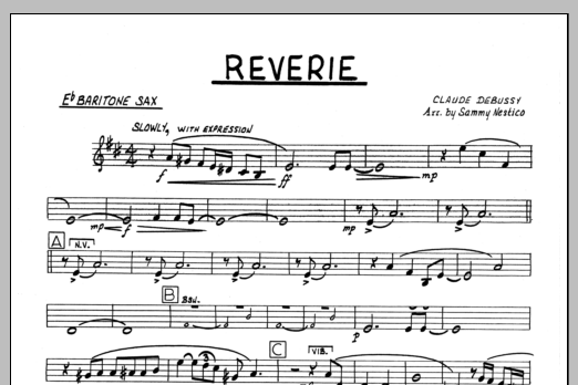 Sammy Nestico Reverie - Baritone Sax sheet music preview music notes and score for Jazz Ensemble including 1 page(s)