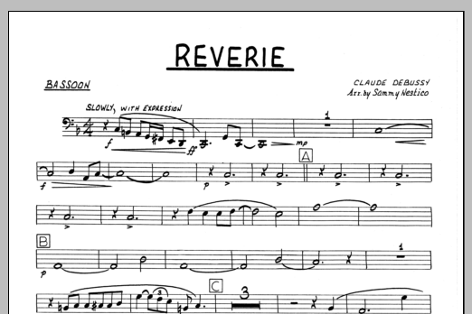 Sammy Nestico Reverie - Bassoon sheet music preview music notes and score for Jazz Ensemble including 1 page(s)
