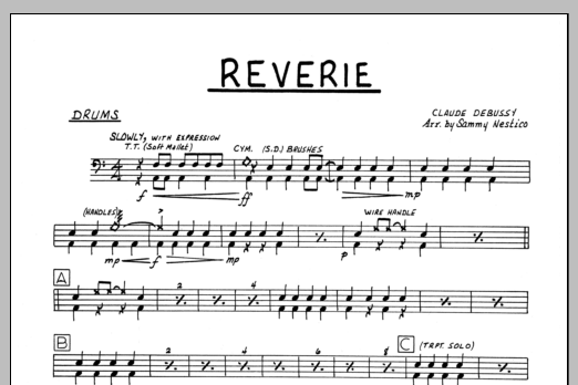 Sammy Nestico Reverie - Drums sheet music preview music notes and score for Jazz Ensemble including 1 page(s)