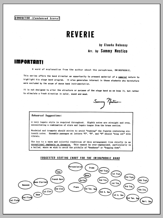 Sammy Nestico Reverie - Full Score sheet music preview music notes and score for Jazz Ensemble including 6 page(s)