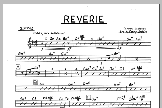 Sammy Nestico Reverie - Guitar sheet music preview music notes and score for Jazz Ensemble including 1 page(s)