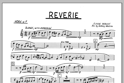 Sammy Nestico Reverie - Horn in F sheet music preview music notes and score for Jazz Ensemble including 1 page(s)