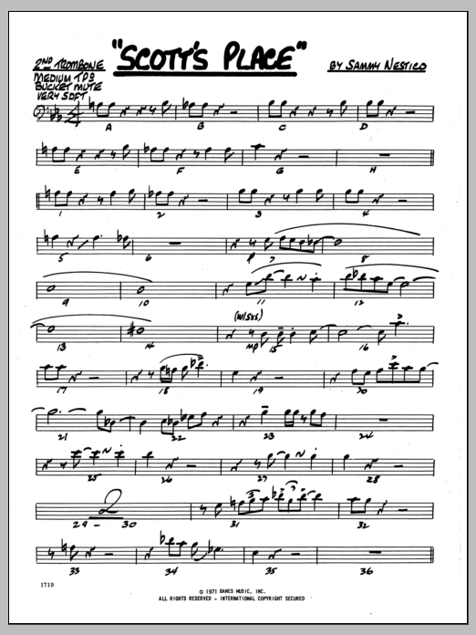 Sammy Nestico Scott's Place - 2nd Trombone sheet music preview music notes and score for Jazz Ensemble including 2 page(s)