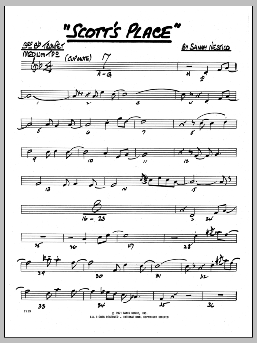 Sammy Nestico Scott's Place - 3rd Bb Trumpet sheet music preview music notes and score for Jazz Ensemble including 2 page(s)
