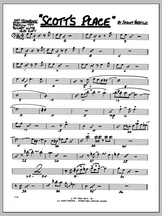 Sammy Nestico Scott's Place - 3rd Trombone sheet music preview music notes and score for Jazz Ensemble including 2 page(s)