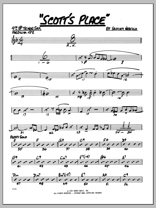 Sammy Nestico Scott's Place - 4TH Bb TENOR SAXOPHONE sheet music preview music notes and score for Jazz Ensemble including 2 page(s)