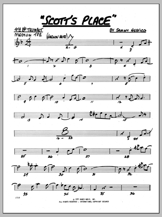 Sammy Nestico Scott's Place - 4th Bb Trumpet sheet music preview music notes and score for Jazz Ensemble including 2 page(s)