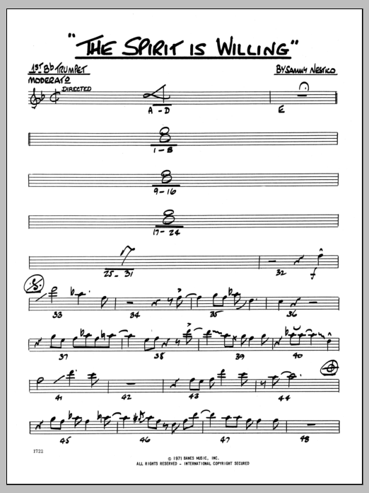 Sammy Nestico The Spirit Is Willing - 1st Bb Trumpet sheet music preview music notes and score for Jazz Ensemble including 2 page(s)