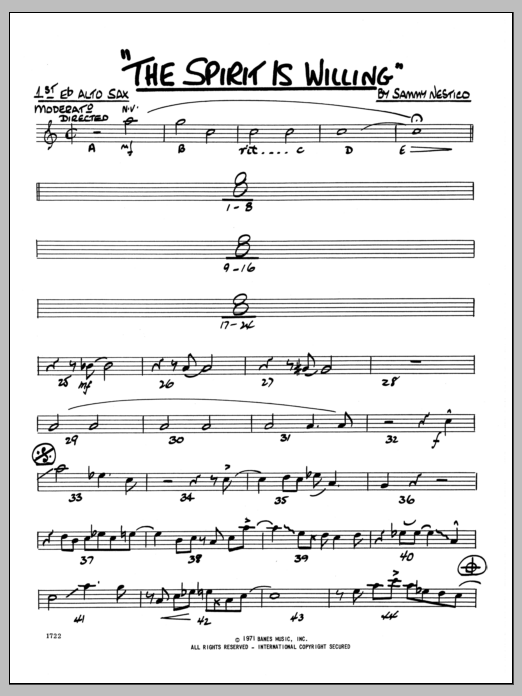 Sammy Nestico The Spirit Is Willing - 1st Eb Alto Saxophone sheet music preview music notes and score for Jazz Ensemble including 2 page(s)