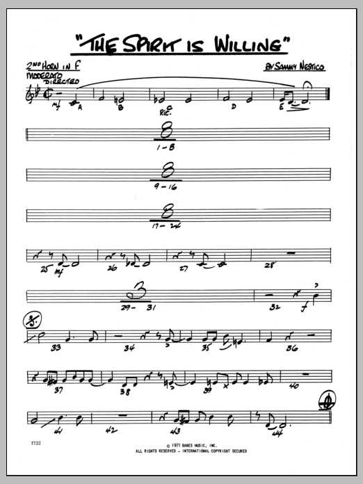 Sammy Nestico The Spirit Is Willing - 2nd F Horn sheet music preview music notes and score for Jazz Ensemble including 2 page(s)