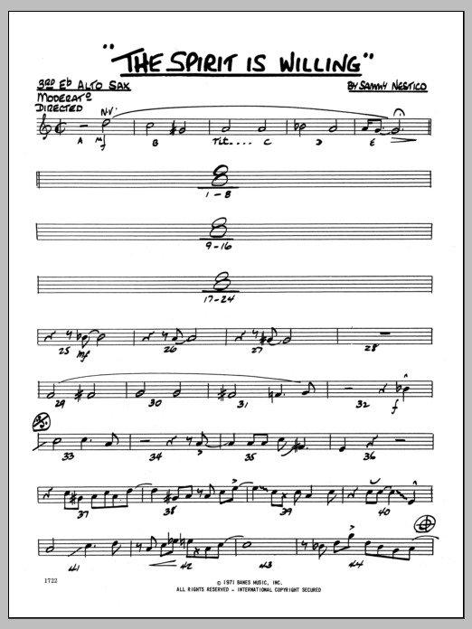 Sammy Nestico The Spirit Is Willing - 3rd Eb Alto Saxophone sheet music preview music notes and score for Jazz Ensemble including 2 page(s)