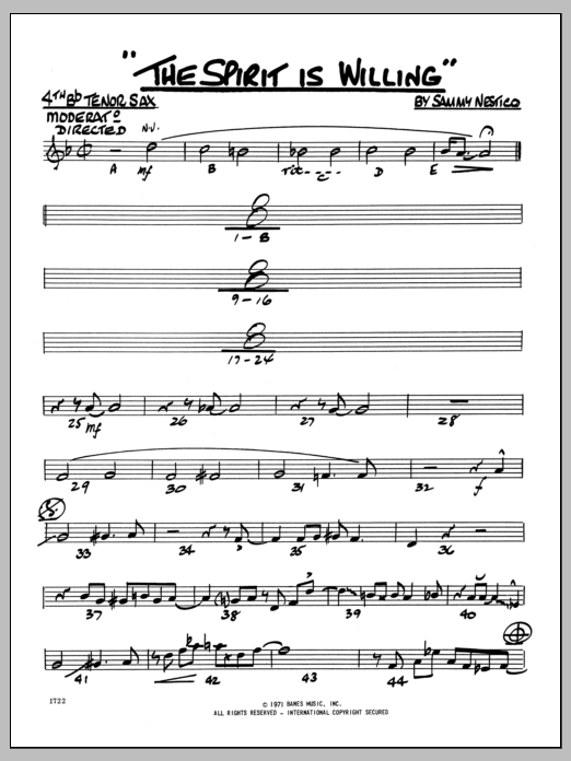 Sammy Nestico The Spirit Is Willing - 4TH Bb TENOR SAXOPHONE sheet music preview music notes and score for Jazz Ensemble including 2 page(s)